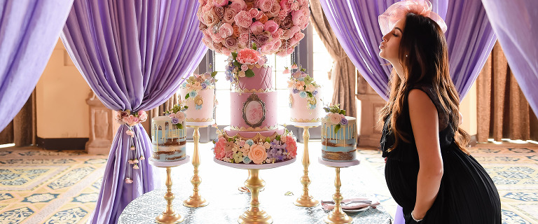 Laura's Marie Antoinette themed baby shower cake and desserts by etcake Miami