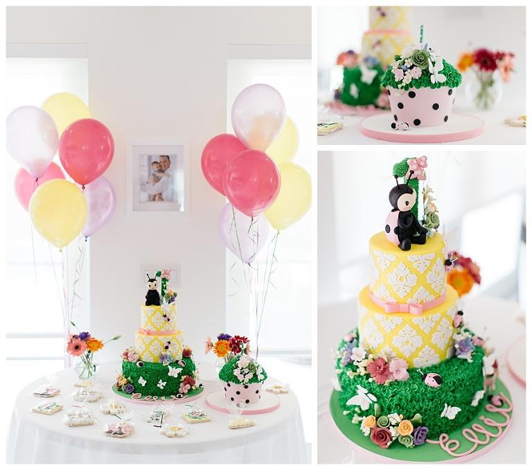 Admirable Ladybugs And Butterflies Ellies First Birthday Cake Elegant Personalised Birthday Cards Petedlily Jamesorg