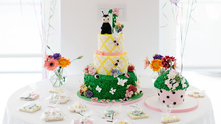 Fantastic Ladybugs And Butterflies Ellies First Birthday Cake Elegant Birthday Cards Printable Benkemecafe Filternl
